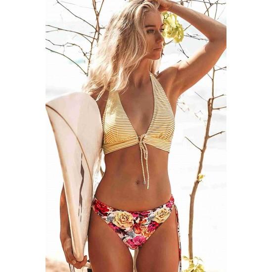 Angelsin Bağlamalı Çiçekli Bikini Alt Çok Renkli