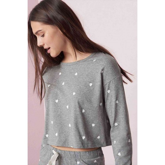 Merry See Kalpli Pijama Takım Gri